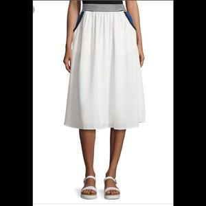 JOA A Line Color Blocked Skirt